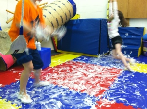 A lot of shaving cream and a lot of movement mean a lot of fun.