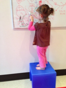 Vertical surfaces with a balance-challenging surface.