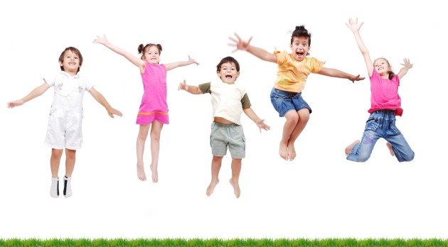 happy kids , jumping